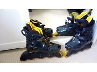 2 pairs of inline skates / rollerblades UK 5 and UK 10.
