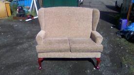 Beautiful petite two seater wingback armchair
