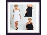 Women's pleated drop shoulder strappy dress