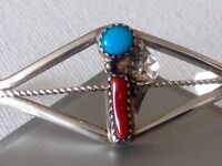 Vintage sterling silver Navajo Turquoise and coral bangle stunning!