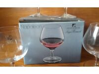 LUIGI BORMIOLI - LIGHT & MUSIC 4 COGNAC STEMGLGASSES IN BLOWN CRYSTAL GLASS BOXED & BRAND NEW