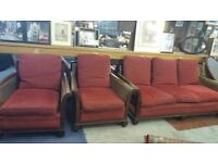 Antique Bergere Sofa & 2 Arm Chairs