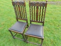 Pair Of Carved Barley Twist Chairs