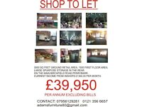 LARGE COMMERCIAL SHOP TO LET. PERRYBARR. BIRMINGHAM.