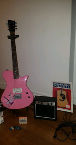 Pink electric Guitar and *MORE*: Amp, accessories, etc.