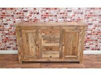 Rustic Natural Hardwood Sideboard Cupboard Drawers Dining Room Storage Unit / Hutch