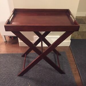 MOVING SALE - Brown folding side table