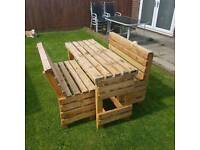 Custom Garden bench and tables reclaimed wood