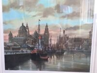 Steven scholes Liverpool Albert dock print with frame