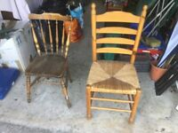 Two old chairs selling separate or together