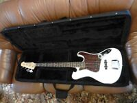 Farida Olympic white bass guitar as new.