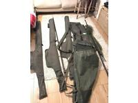 3 x Fox warrior z carp rods with quiver, landing net and weigh sling