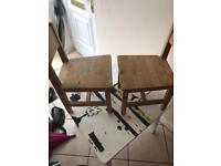 Solid Pine wood kids table and 2 chairs