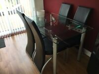 Dining Table, Extendable, and 4 Black Faux Leather/Chrome Chairs