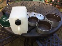 Camping pans, kettle and water carrier