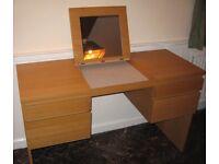 Ikea oak veneer dressing table with mirror