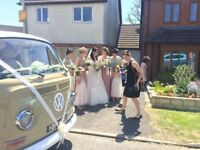 1969 VW Camper wedding transport, & VW Camper photo booth travel in style with Sparky. Seats 7