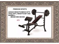 ADIDAS WEIGHTS BENCH WITH 50KG VINYL WEIGHTS BRAND NEW BOXED