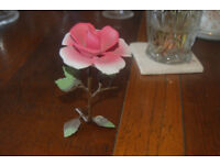 Cap di Monte pink rose ornament aprroximately 30 years old. Has sticker still on stem
