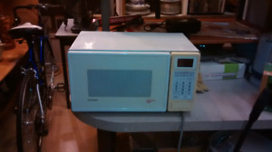 White microwave oven.