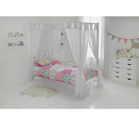 Hearts Single Four Poster Bed Frame - White