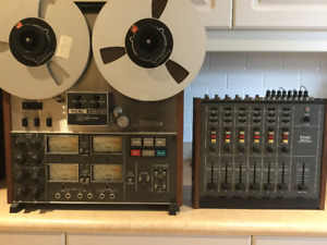Teac 3340S Reel to Reel and Model 2 Audio Mixer