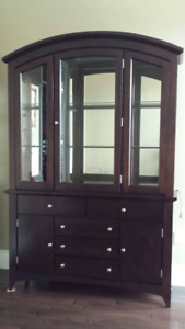 Solid wood dining hutch.