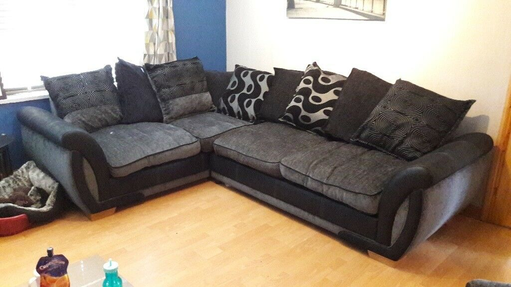 Dfs L Shaped Sofa Black And Grey Fabric In Dagenham
