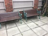 Old heavy cast iron garden benches ( 4 matching available ) £35 each