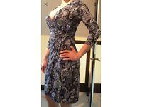 Womens dress, East size 12 navy flowery.
