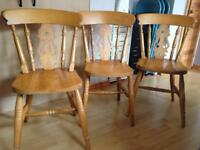 3 solid wood pine chairs