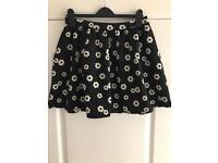 Ladies black and cream flower print skater skirt
