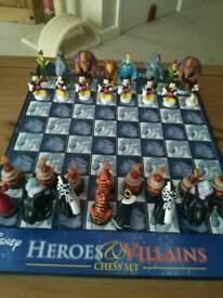 Disney hero and villan chess set