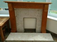 Gas Fire with solid marble hearth and surround plus wooden mantle. Will sell separately.