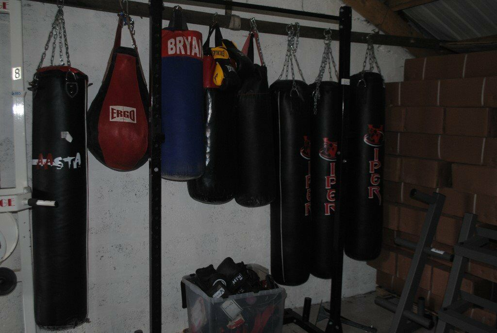 Selection Of Used Boxing Punch Bags For Mma Weights Gym Fitness