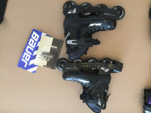 BAUER ROLLER BLADES WITH PADS AND GUARDS