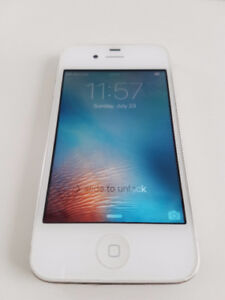 White iPhone 4s 16gb PERFECT screen, cracked back (Fido)