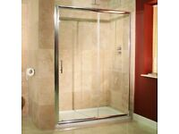 1200 x 700 shower tray from pearlstone with 1200x1850 chrome sliding doors, New