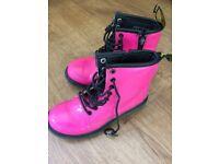 Hot Pink Patent Dr Martens Boots Size 2 excellent condition