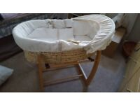 Mamas and papas moses basket , bedding , stand and matress