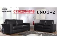 LEATHER SOFA SET 3+2 AS IN PIC BLACK OR BROWN - BRAND NEW