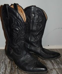 Black Leather Men Cowboy Boots, Size 7.5