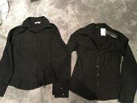 2 Black Ladies Size 8 Primark Shirts NEW