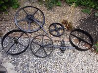 Set Of Cast Iron Wheels From Horse Drawn Plough.