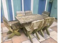 Solid wood table and 6 chair set