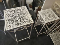 Small metal garden furniture nest of tables