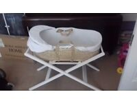 Moses basket with stand, mattress and sheets
