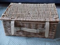 BHS Straw Picnic Hamper (Includes plates, cutlery, cups, etc) - Brand New