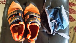 Rock climbing shoes and chalk bag