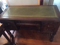Vintage antique wooden leather top writing desk
